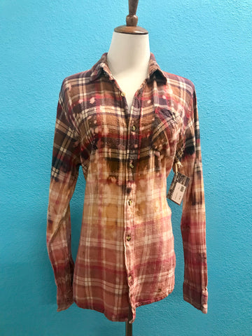 Purple Rain Distressed Flannel Top