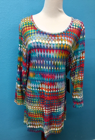 Plus Multiples Scoop Multi Color Blouse