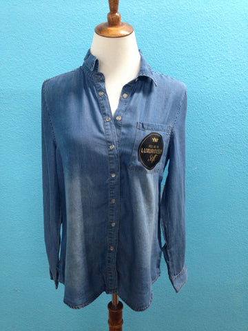 Soft Denim Button Up Top