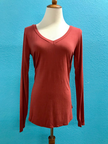 Marsala Long Sleeve V Neck Tee