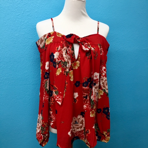 Red Off Shoulder Floral Blouse Small
