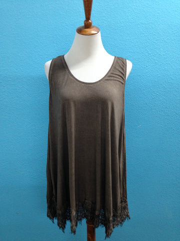 Dune Tunic Tank with Lace Hem
