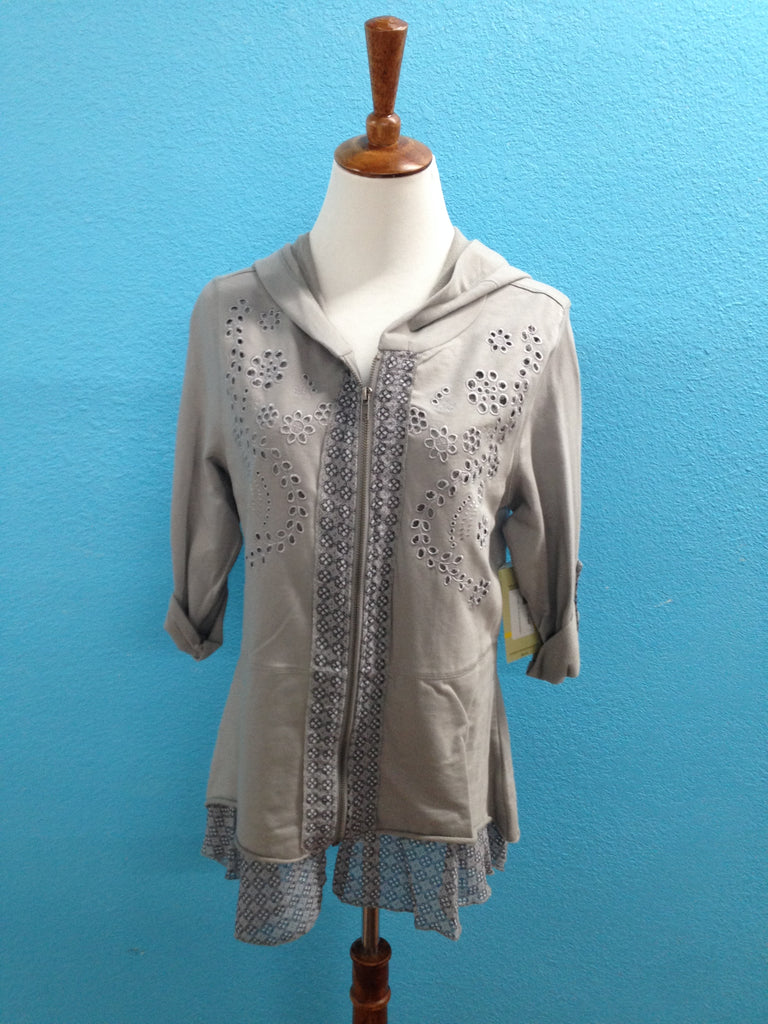 Multiples 3/4 Sleeve Lace Zippered Top