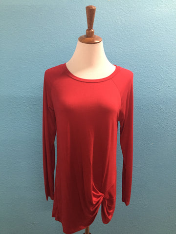 Red Side Knot Top