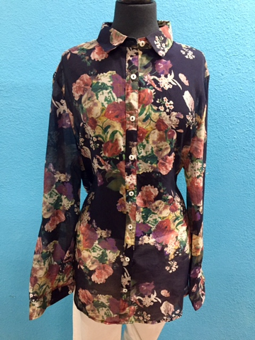 Plus size Navy Floral Shirt