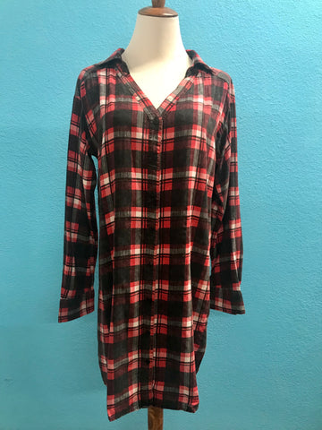 Black/ Red Plaid Tunic