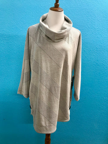 Ali Miles Cowl Neck Grey Stripe