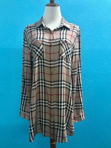 Burberry Plaid Button Down Long Sleeve Top