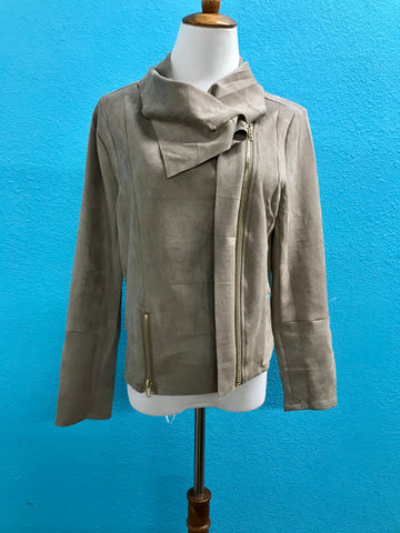 Sand Suede Zip-Up Jacket