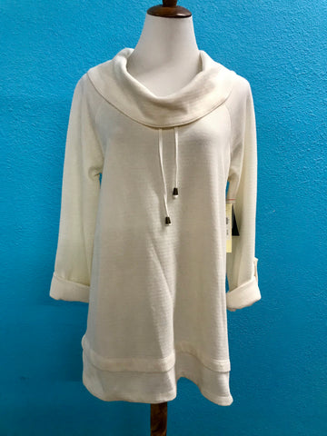 Ali Miles Cream Tie Cowl Neck