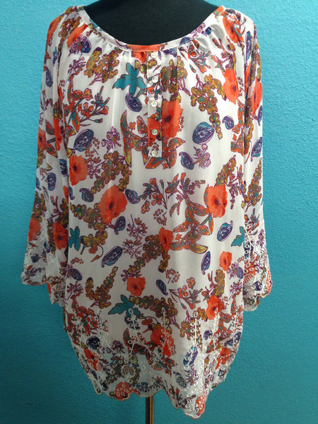 Multiples White Sheer Top with Coral Floral