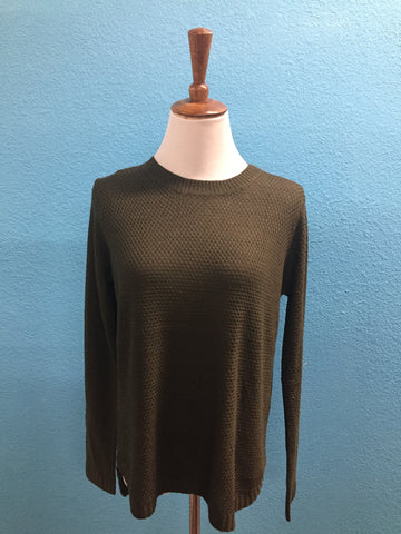 Olive Ribbed Hi Low Knit Sweater