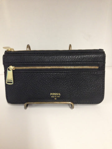 Fossil Black Preston Wallet w. Gold Accents