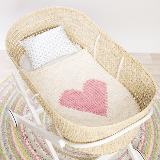 Cream blanket & baby pink heart