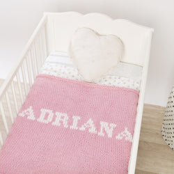 Baby pink blanket & cream name