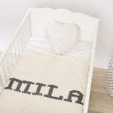 Cream blanket & dark gray name