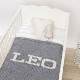 Light grey blanket & cream name