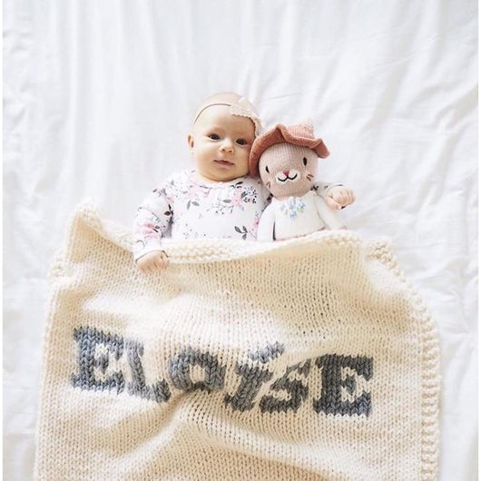 Cream blanket & light gray name