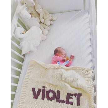 Cream blanket & purple name