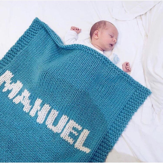 Turquoise blanket & cream name
