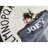 Dark gray blanket & cream name