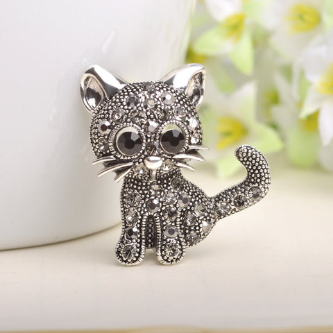 Silver Plated Cat Brooche