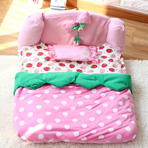 Cute strawberry luxury dog bed house with pillow