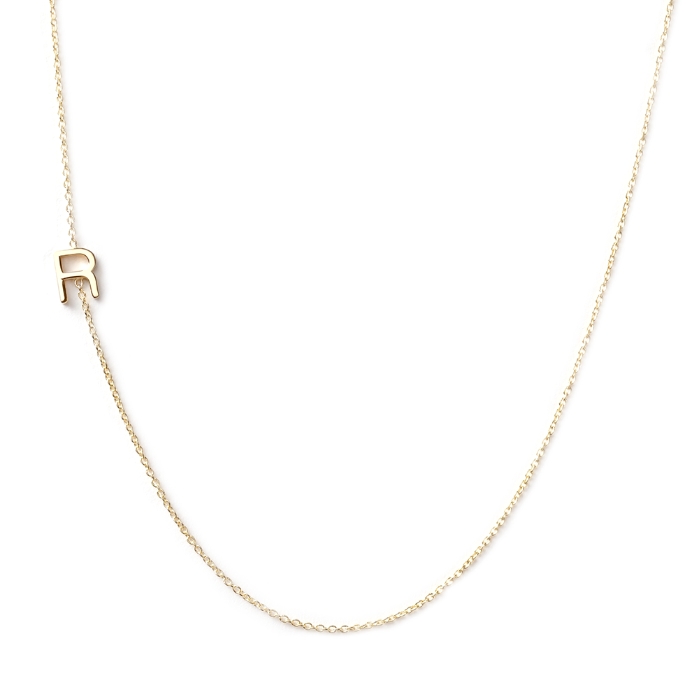 14k gold asymmetrical letter necklace r