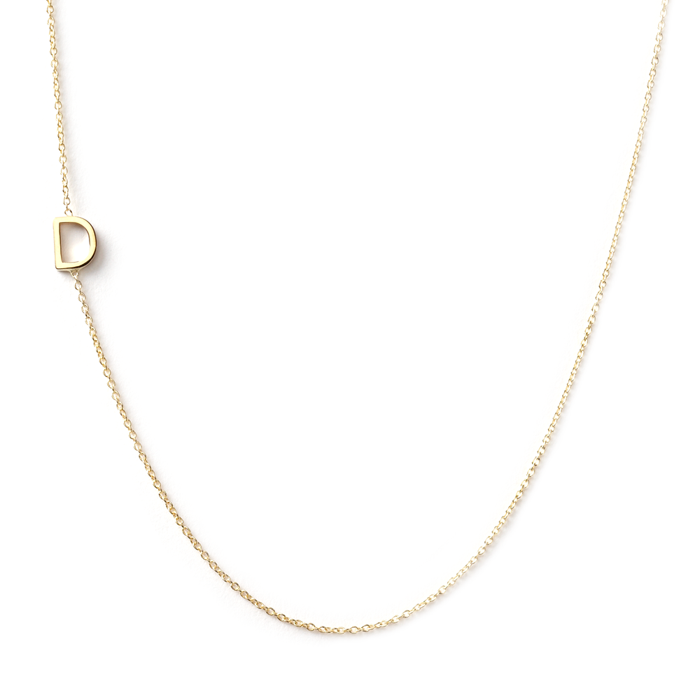14K GOLD ASYMMETRICAL LETTER NECKLACE - D