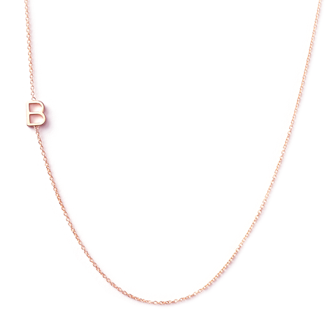 14K GOLD ASYMMETRICAL LETTER NECKLACE - B