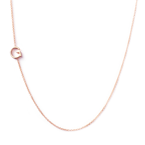 14K GOLD ASYMMETRICAL LETTER NECKLACE - G