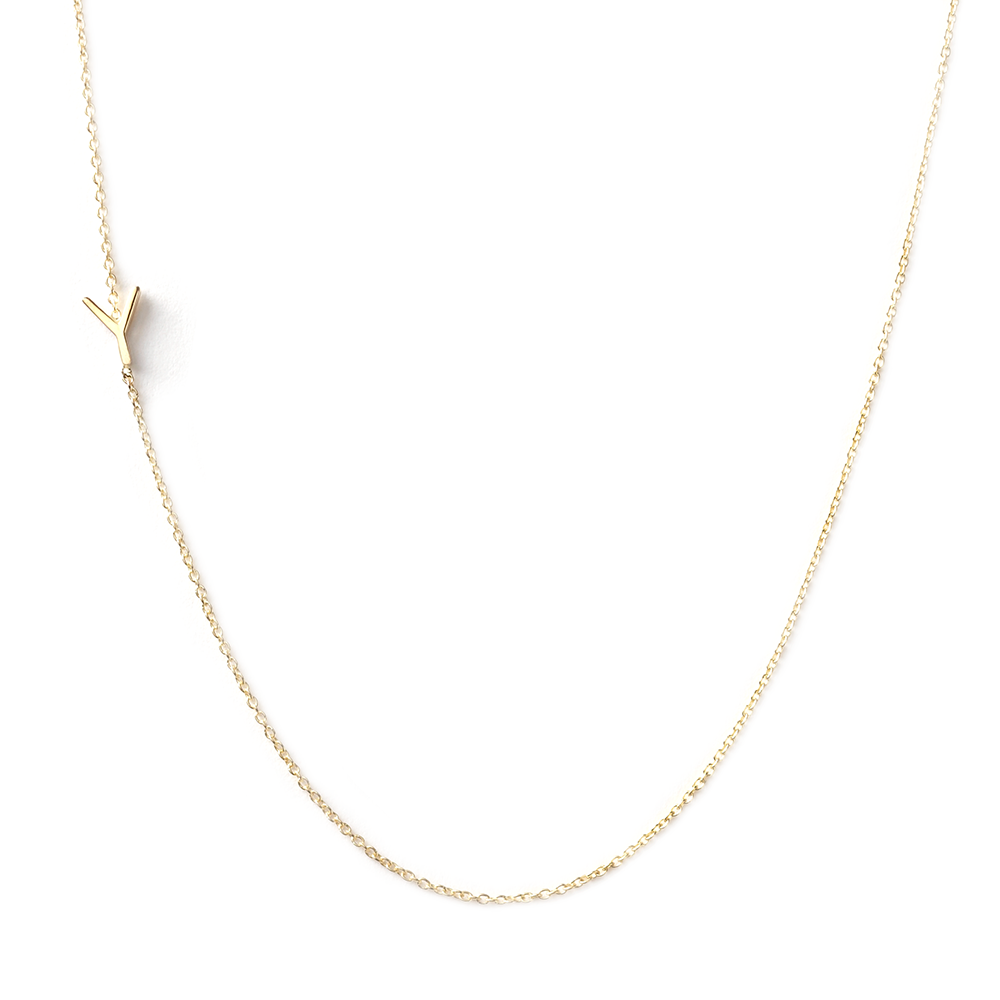 14K GOLD ASYMMETRICAL LETTER NECKLACE - Y