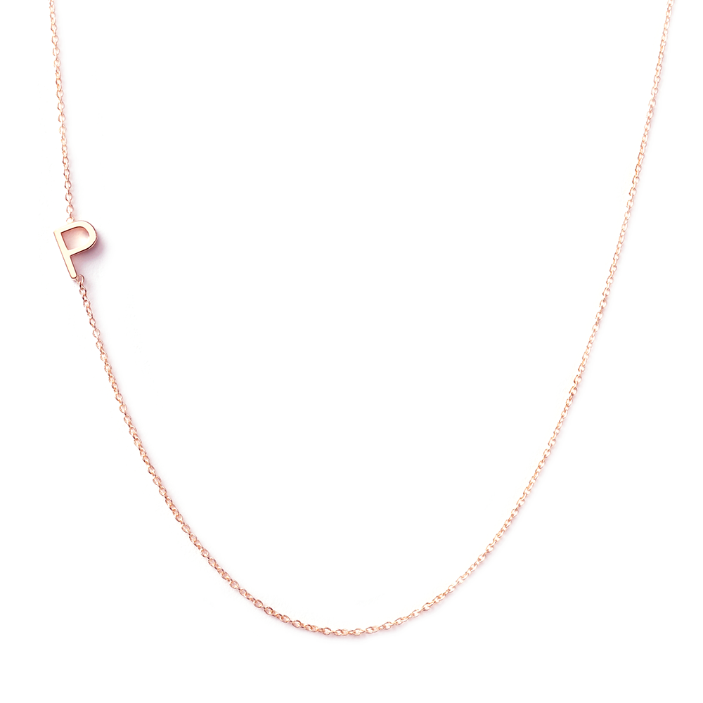 14k gold asymmetrical letter necklace p