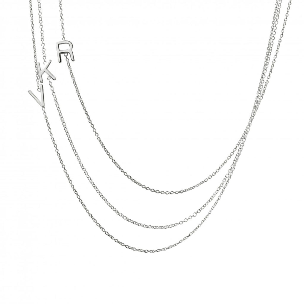 sterling silver asymmetrical letter necklace