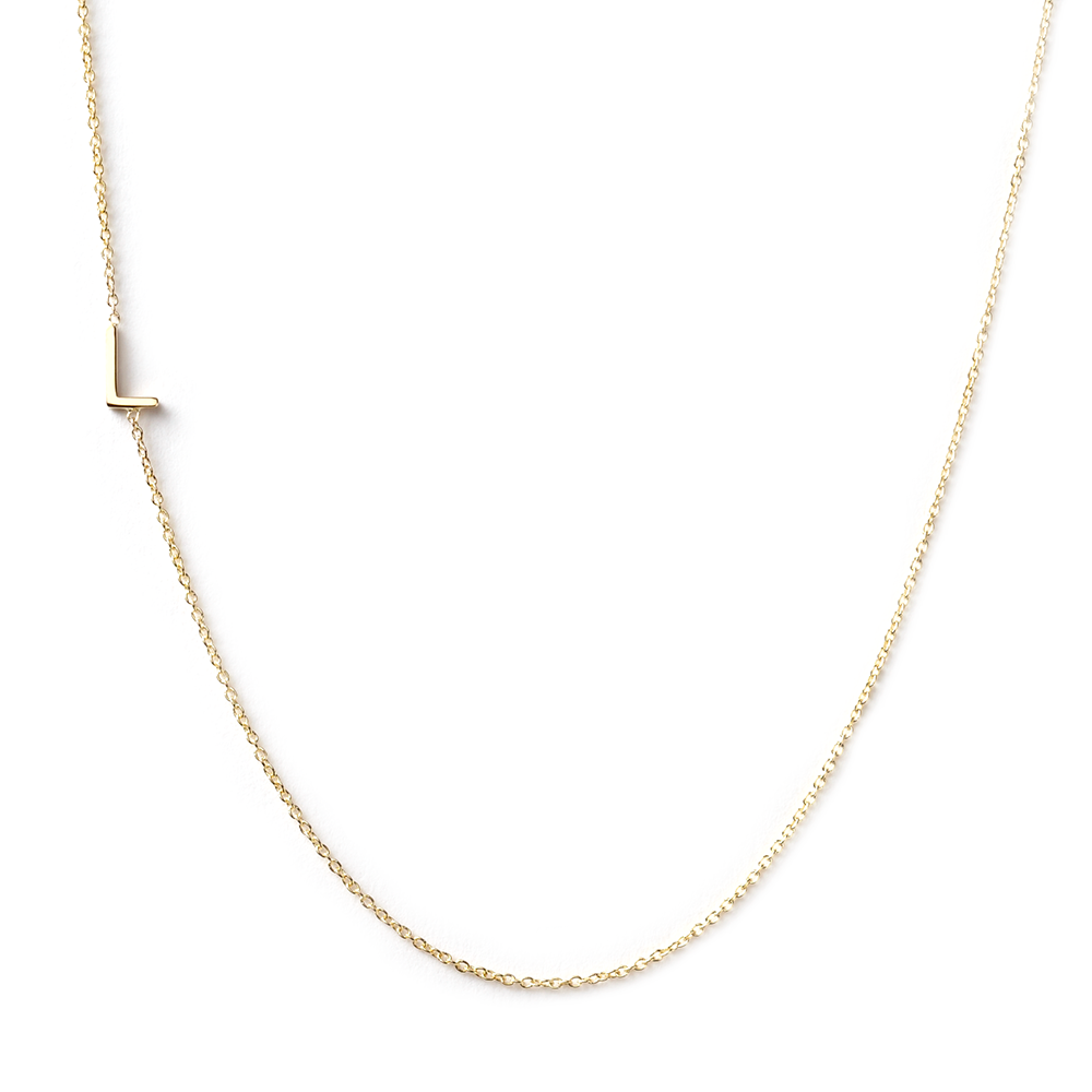 14k gold asymmetrical letter necklace l
