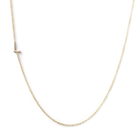 14K GOLD ASYMMETRICAL LETTER NECKLACE - L
