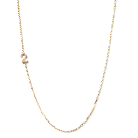 14K GOLD ASYMMETRICAL NUMBER NECKLACE - 2