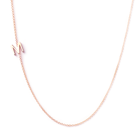 14K GOLD ASYMMETRICAL LETTER NECKLACE - M