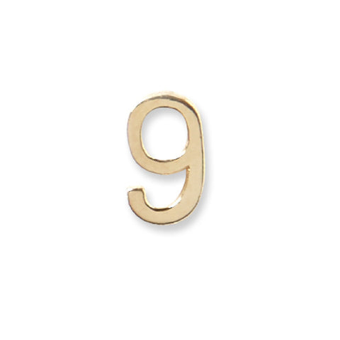 14K Gold Number Stud - 9