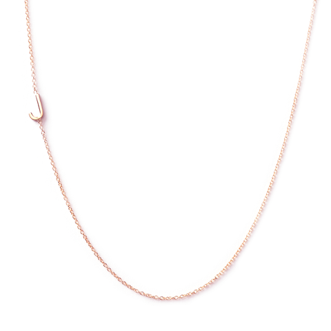 14K GOLD ASYMMETRICAL LETTER NECKLACE - J