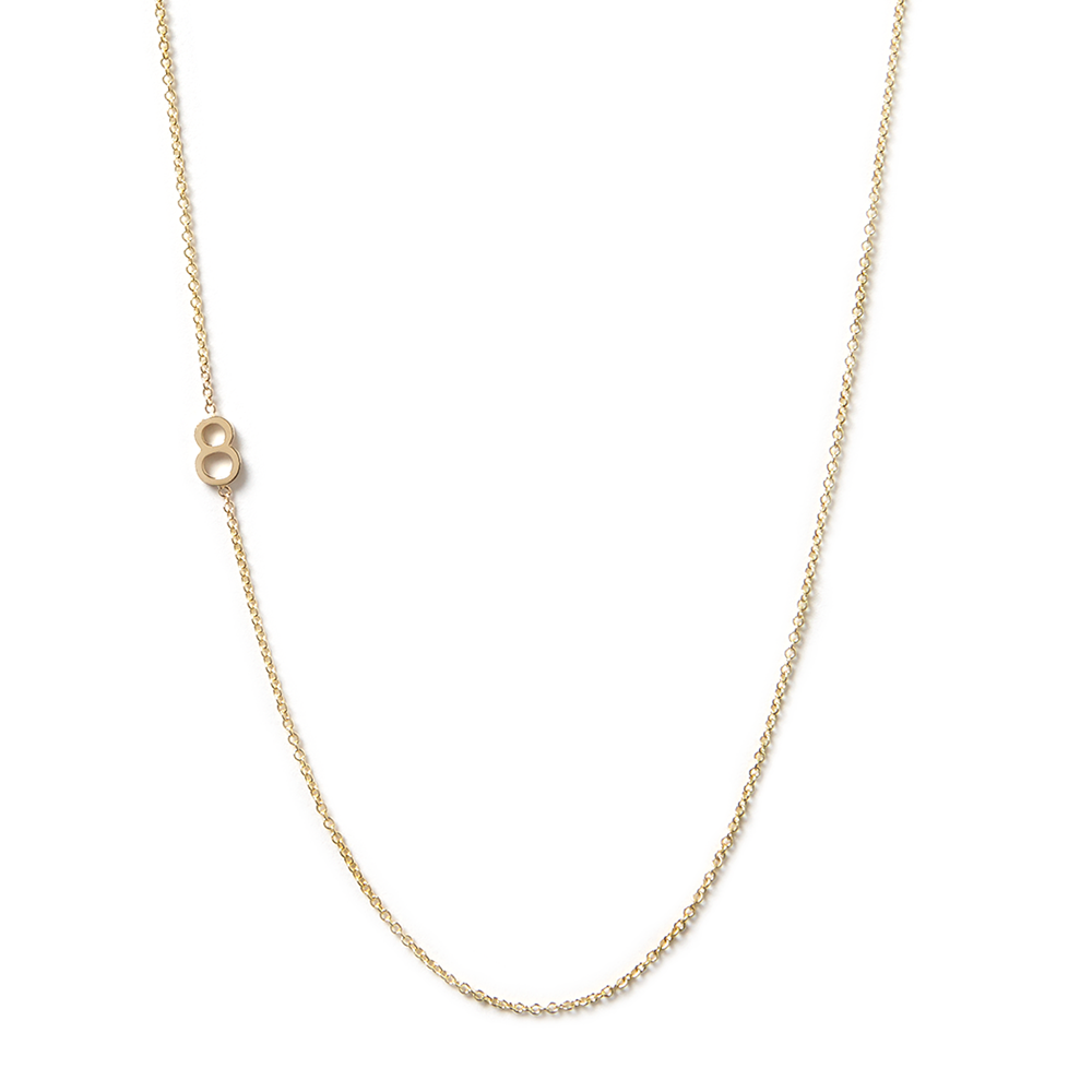 14K GOLD ASYMMETRICAL NUMBER NECKLACE - 8