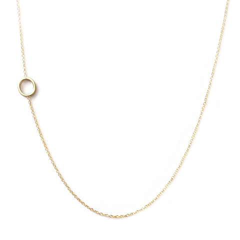 14K GOLD ASYMMETRICAL LETTER NECKLACE - O