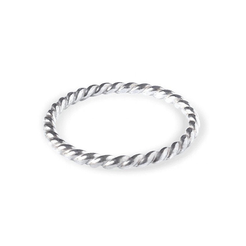 Twisted Rope Layering Ring - White Gold