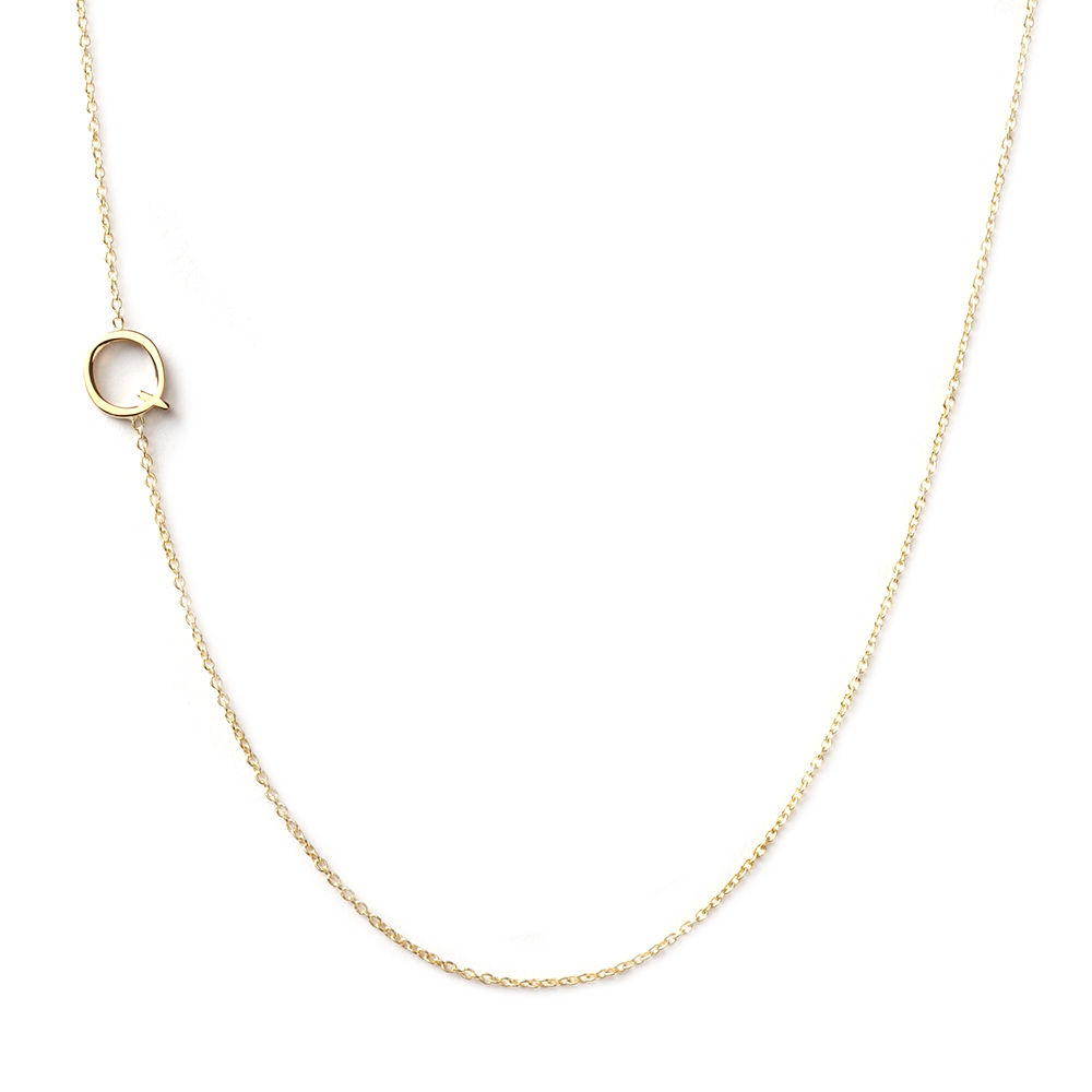 14K GOLD ASYMMETRICAL LETTER NECKLACE - Q