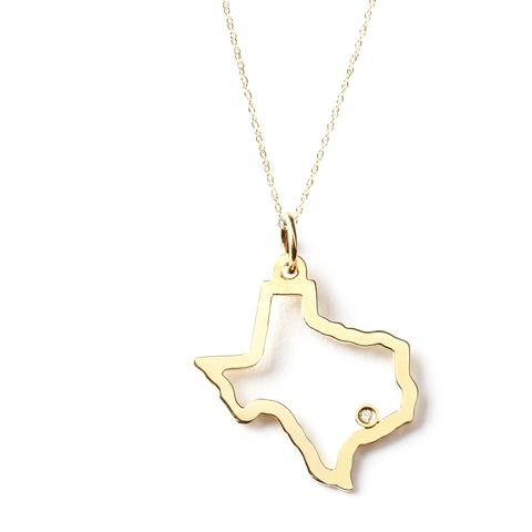 State Pendant with Diamond - 14K Yellow Gold