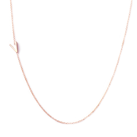 14K GOLD ASYMMETRICAL LETTER NECKLACE - V