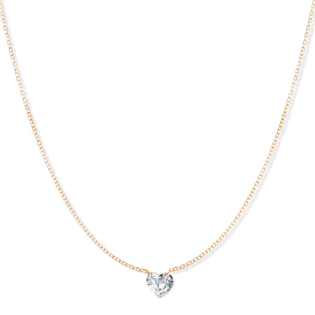 The Sweetheart Necklace - White Sapphire