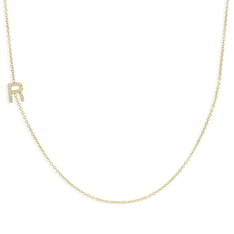 14K GOLD ASYMMETRICAL LETTER NECKLACE - R