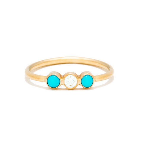 Triplet Ring with Diamond | Turquoise