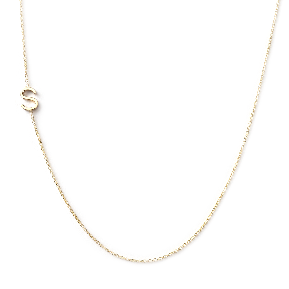 14K GOLD ASYMMETRICAL LETTER NECKLACE - S